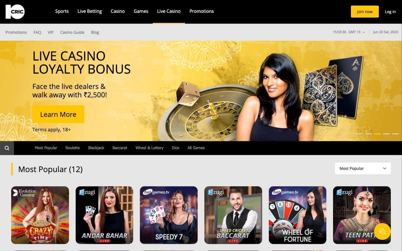 10Cric Live Casino