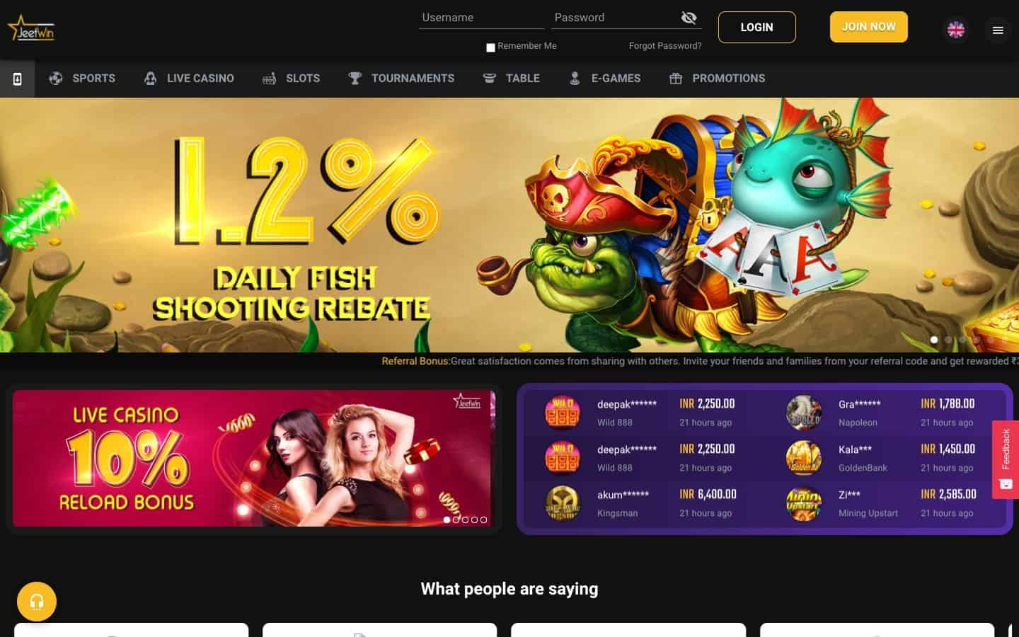 Jeetwin Casino review - Website