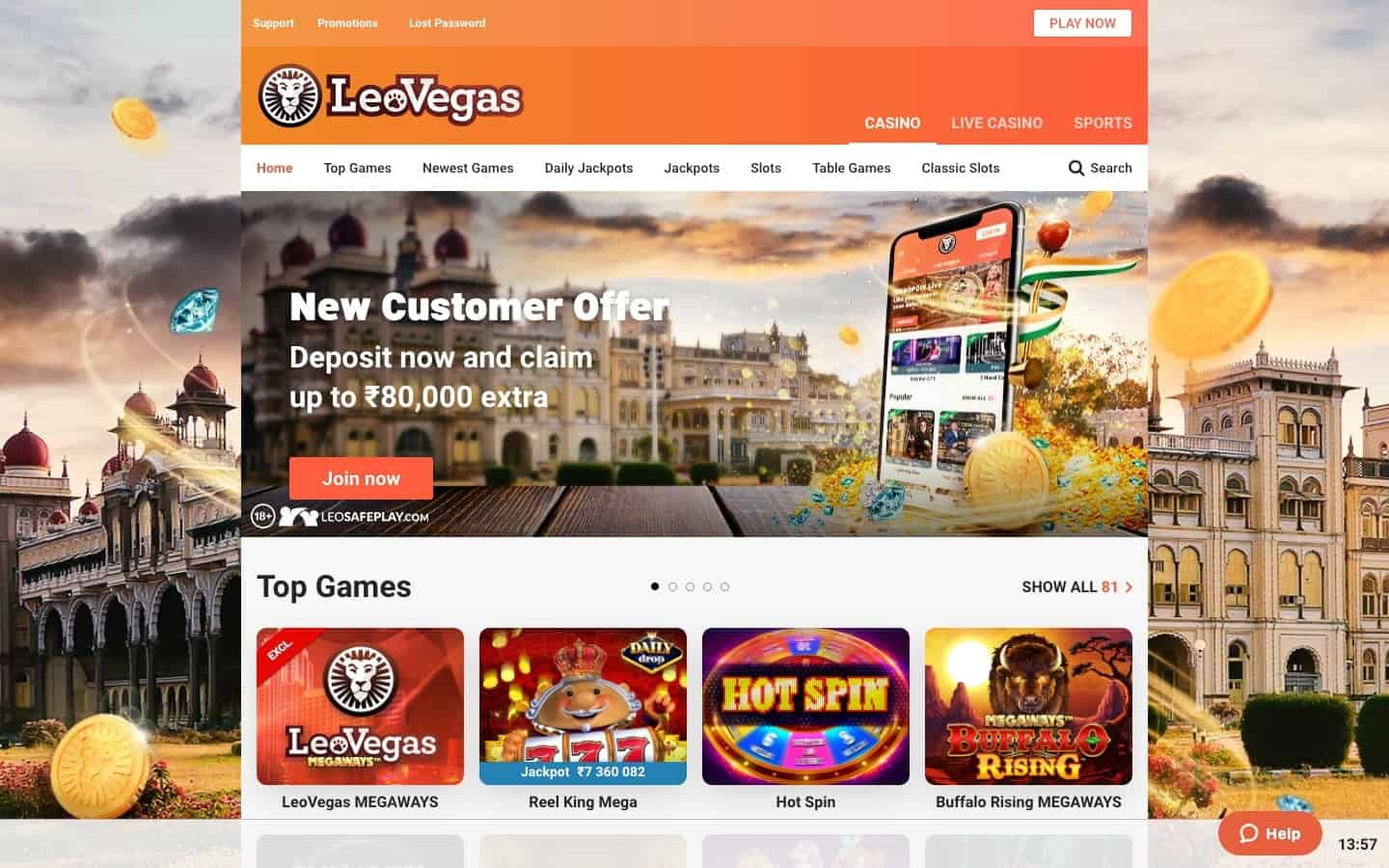 LeoVegas Casino review - Website
